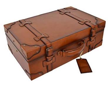 Couleur : Rouge, Taille : 34/×25/×12cm Gububi-Home Vintage Valise R/étro Voyage Valise Vintage en Cuir Grande Valise Voyage D/écoration Mariage F/êtes D/écoration Affiche Artisanat